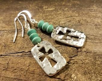 Cross Earrings, Cutout Cross Earrings, Silver Cross Earrings, Drop Earrings, Handmade Earrings