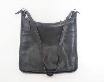 Vintage Leather Black Genuine Coach Andrea Slim Tote Purse 9073