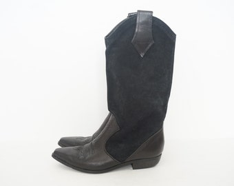 Vintage Leather Midcalf Western Boots- US Women's Size 5.5