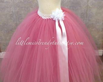 Long Rose Pink Tutu Skirt, Rose Long Tutu, Long Dusty Rose Tutu, Girs Long Tutu, Dusty Rose Long Tutu Skirt, Long Children Rose Tutu, Rose