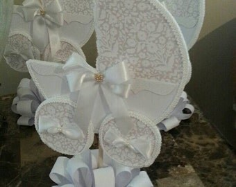 Beige And White Baby Carriage Centerpiece / Baby Shower Centerpiece / Unique Baby Shower Centerpiece