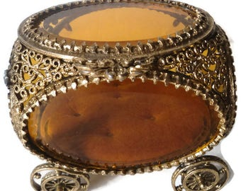 Vintage Gold Ormolu Carriage Jewelry Casket
