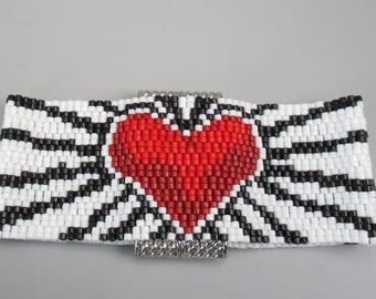 Bracelet, Peyote Stitch Heart Design