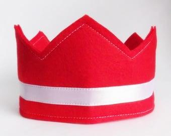 Felt Crown, Birthday Crown, Adjustable Size, Ribbon Closure, Kids Birthday Gift, Party Crown, Boy Birthday Crown, Felt Party Hat, party hat