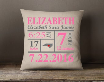 Birth Announcement Pillow, Personalized Pillow, Custom pillow, Shower Gift, Insert included