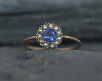 Victorian Sapphire and Pearl Ring Halo Ring in 9k Pink Gold -  JL826