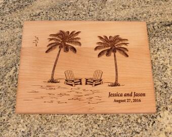 Personalized Custom Cutting Board Beach Wedding Destination Wedding Gift Retirement Kitchen Art Housewarming Shower Gift Aidrondack