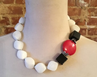Black Onyx and White Agate Statement Necklace w/Red Coral Accent Bead