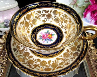 Paragon tea cup and saucer cobalt blue floral pattern teacup wide mouth gold gilt