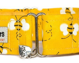 "Noddy & Sweets Adjustable Martingale Collar [1"", 1.5"", 2"" Bumble Bees]"