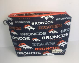 Broncos Make up Bag - Denver Broncos Bag - NFL Broncos Zipper Bag - Broncos Denver Toiletry Bag - Broncos Bag with Glitter