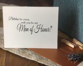 Will you be my Man of Honor, Bridesman,  card, invitation, bridal party