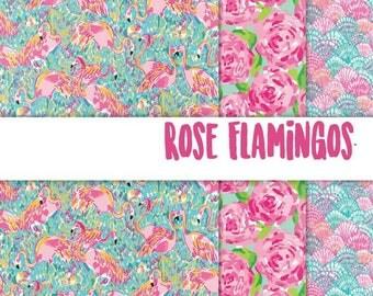 "Patterned Craft Vinyl - Rose Flamingos 12x12"" Individual Sheet or Multi-Pack"