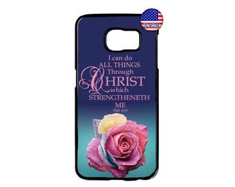 Christian Bible Verse Rose I Can Do Hard Rubber TPU Case Cover For Samsung Galaxy S8 S7 S6 Edge Plus S5 S4 S3 NOTE 5 4 3 2 iPod Touch 4 5 6