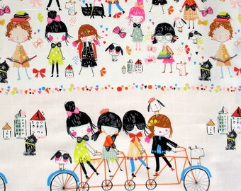 Fabric, Bicycle Built for 4, Soft Peach Multi, Border Print, Alexander Henry, Kids, Bikes, Dogs, By the Yard