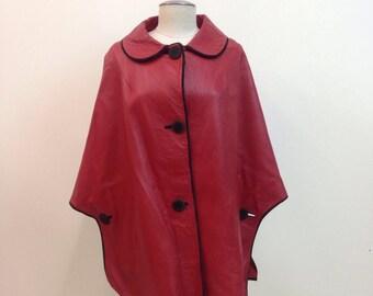 Vintage 1960s Mod Red Leather Cape coat / size medium