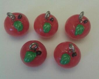 apple charms, kawaii charms, thank you teacher gift, red apple, teacher gift, jewellery making, keyring charms, food charms, fruit charms