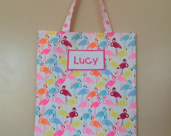 Personalised library/tote bag - flamingos in assorted colours