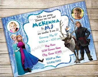 FROZEN Elsa, Anna, Olaf, Kristoff, Sven - Sibling Birthday Invitation