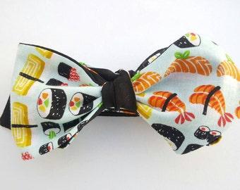 NEW Sushi men's freestyle bowtie, men's self tie bowtie, reversible bowtie solid black, California roll bowties, chopsticks please, wasabi