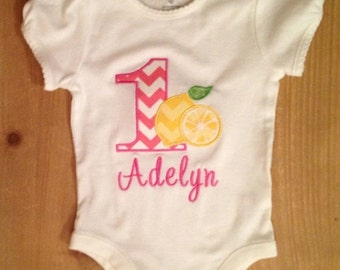 Pink and Yellow Lemons Lemonade Embroidered Birthday Shirt or Baby Bodysuit