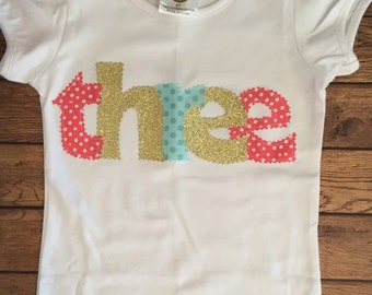 Coral, Aqua, and Gold Birthday Shirt or Baby Bodysuit