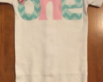 Pink  and Blue Birthday Shirt or Baby Bodysuit