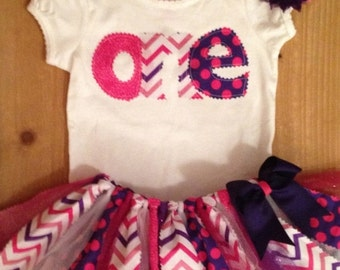 Pink and Purple Chevron and Polka Dots Birthday Tutu Outfit