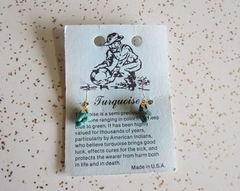 Vintage NOS Natural Turquoise Dangle Earrings on Original Card