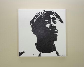 Tupac Painting (12x12) Hip Hop Art, Pop Art, Tupac Art, Tupak Shakur, 2PAC