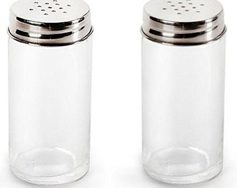 Set of 2 Kitchen Classics Salt and Pepper Glass Shakers with Stainless Steel Tops.