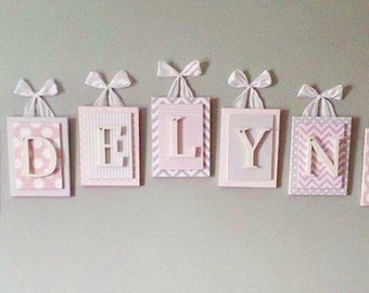 Nursery letters, Pink and Gray Nursery Letters, Wooden Nursery Letters, Chevron Nursery Letters,Hanging Wall Letters,Custom Nursery Letters