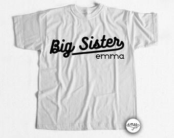 Big Sister Announcement Shirt Big Sister Shirt Personalized Big Sister Shirt