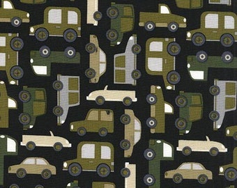 Olive Vehicles on Black, Traffic Jam, from Michael Miller Fabrics