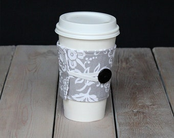 Coffee Cozy in grey and white floral with black button
