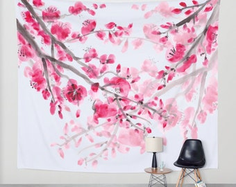 Cherry Blossom Wall Tapestry, Fabric wall art, pink, spring, floral, feminine, blooms, pretty
