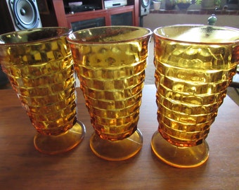Amber Indiana Glass Tall Tumblers