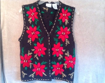 Ugly Christmas Sweater Party Vest Ladies Small Handmade Poinsettias Black