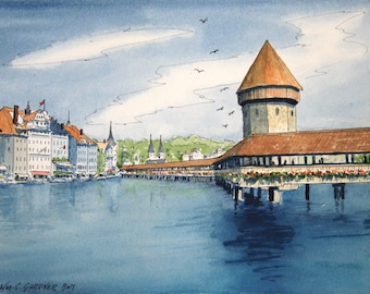 "Chapel Bridge - Lucerne, Switzerland  Watercolor Print Limited Edition mats to 11"" x 14"", art,  Europe, travel"