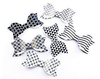 6 Handmade Gift Bows Geometric Pattern Black and White For Embellishment//DIY Craft//Decorations//Gift Wrapping