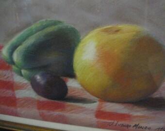 Vintage Original Pastel Painting Still Life Fruit Great Colors Folk Kitchen Art