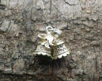 Vintage Sterling Silver Wedding Bells  Charm Pendant