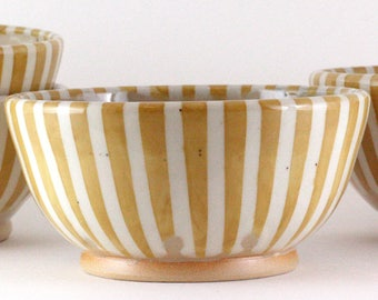 Unique Stoneware Bowl / Stackable Cereal Bowl / Yellow and White Stripes