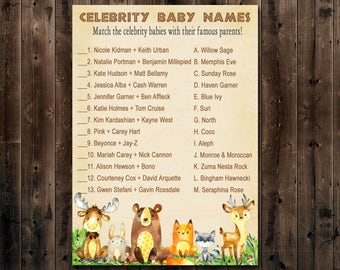 Woodland Baby Shower Game, Celebrity Baby Shower Game Printable , Celebrity Baby Name Match, Printable Instant Download  010