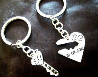 Silver key heart keychain