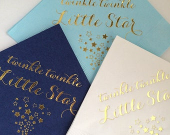 50 Personalized Napkins Baby Shower Twinkle Twinkle Little Star White, Navy or Light Blue w/ Gold Foil Cocktail Beverage SHIPS in 24 HOURS!