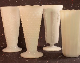 Milk Glass Vase Lot of 4 Vintage Wedding Decor