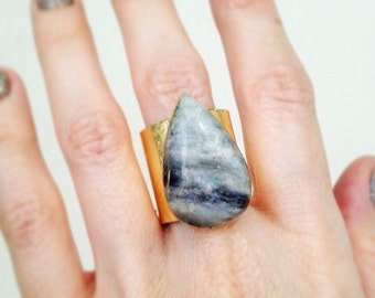 Rainbow Moonstone with Gold Leaf Cuff Ring, size 9 Ring, Gold Crystal Ring