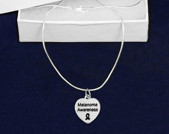 12 Melanoma Awareness Heart Necklaces in Gift Boxes (Wholesale Pack - 12 Necklaces) (N-HRT-17MA)