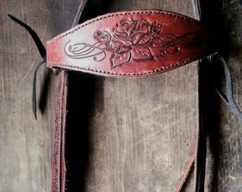 Leather Horse Bridle /Custom Hand Carved with Rose design tooling/tooled sides /Headstall/Draft Tack/Halter/ breastcollar/ show/